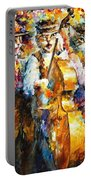 Klezmer Cats - Palette Knife Oil Painting On Canvas By Leonid Afremov Portable Battery Charger
