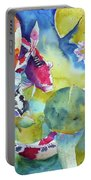 Koi And Two Waterlilies Flowers Portable Battery Charger