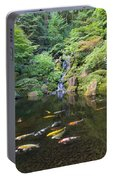 Koi Fish In Waterfall Pond At Japanese Garden Portable Battery Charger