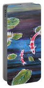 Koi In Lilly Pond Portable Battery Charger