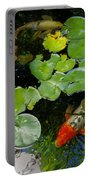 Koi With Lily Pads D Portable Battery Charger