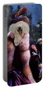Komondor Art Canvas Print - The Town Night Out Portable Battery Charger