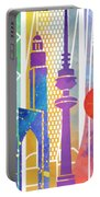 Kuwait City Landmarks Watercolor Poster Portable Battery Charger