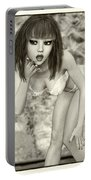 Kylie - Cute And Sassy - Black And White Classic Portable Battery Charger