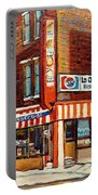 La Quebecoise Restaurant Deli Portable Battery Charger by Carole Spandau