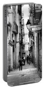La Rambia Bw Street Gothic Quarter Narrow People  Portable Battery Charger