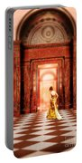 Lady In Golden Gown Walking Through Doorway Portable Battery Charger