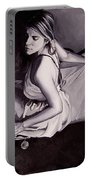 Lady Justice  Black And White Portable Battery Charger