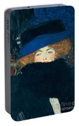 Lady With A Hat And A Feather Boa Portable Battery Charger