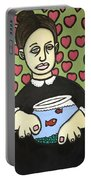 Lady With Fish Bowl Portable Battery Charger by Thomas Valentine
