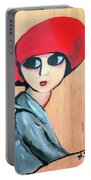Lady With Red Hat Portable Battery Charger