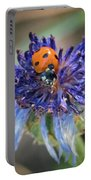 Ladybug On Purple Flower Portable Battery Charger