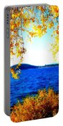 Lake Coeur D'alene Through Golden Leaves Portable Battery Charger