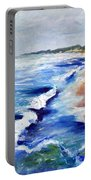 Lake Michigan Beach With Whitecaps Portable Battery Charger