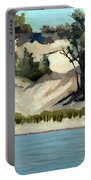 Lake Michigan Dune With Trees And Beach Grass Portable Battery Charger by Michelle Calkins
