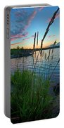 Lake Sunset And Sedge Grass Silhouettes, Pocono Mountains Portable Battery Charger