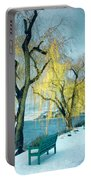 Lakeshore Walkway In Winter Portable Battery Charger