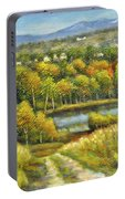 Lakeside Trail In Autumn Portable Battery Charger