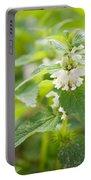 Lamium Album White Flowers Macro Portable Battery Charger