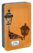 Lamp, Shadow And Burnt Umber Wall, Orvieto, Italy Portable Battery Charger