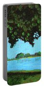Landscape With A Lake And Tree Portable Battery Charger