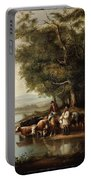 Landscape With Cows Portable Battery Charger