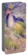 Landscape With Figure In Pink Portable Battery Charger