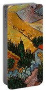 Landscape With House And Ploughman Portable Battery Charger by Vincent Van Gogh