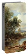 Landscape With Stream And Decorative Figures Portable Battery Charger