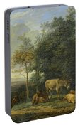 Landscape With Two Donkeys, Goats And Pigs Portable Battery Charger