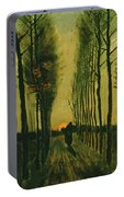 Lane Of Poplars At Sunset Portable Battery Charger