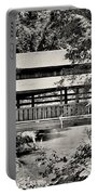Lanterman's Mill Covered Bridge Black And White Portable Battery Charger
