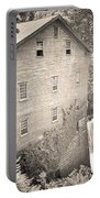 Lanterman's Mill In Mill Creek Park Black And White Portable Battery Charger