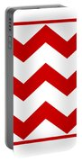 Large Chevron With Border In Red Portable Battery Charger