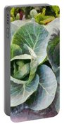 Large Leaves Of A Cabbage Plant Portable Battery Charger