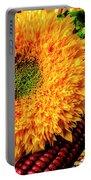 Large Sunflower On Indian Corn Portable Battery Charger