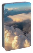Large White Cloud From Passanger Airplace Window At Sunset Portable Battery Charger