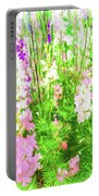 Larkspur Flowers In Soft Oil Style Portable Battery Charger