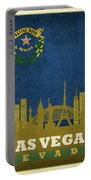 Las Vegas City Skyline State Flag Of Nevada Art Poster Series 018 Portable Battery Charger