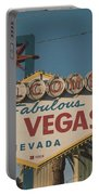 Las Vegas Welcome Sign With Vegas Strip In Background Portable Battery Charger