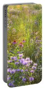 Last Rays Of Sun Light Wildflowers In Moraine Hills Sp Portable Battery Charger