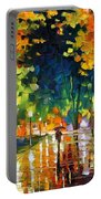 Late Night - Palette Knife Oil Painting On Canvas By Leonid Afremov Portable Battery Charger