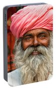 Laughing Indian Man In Turban Portable Battery Charger