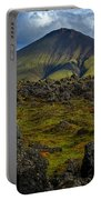 Lava Field And Mountain - Iceland Portable Battery Charger