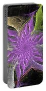 Lavendar Fractal Flower Portable Battery Charger