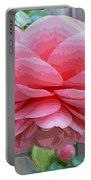 Layers Of Pink Camellia - Digital Art Portable Battery Charger