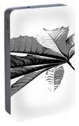 Leaf In Black And White Portable Battery Charger