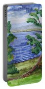 Leaning Tree By Lake Sacandaga Portable Battery Charger