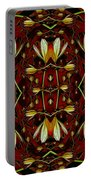 Leather In Floral Harmony And Peace Portable Battery Charger