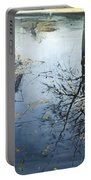 Leaves And Reeds On Tree Reflection Portable Battery Charger